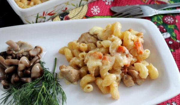Запеченные макароны с курицей в духовке Весенний легкий ужен